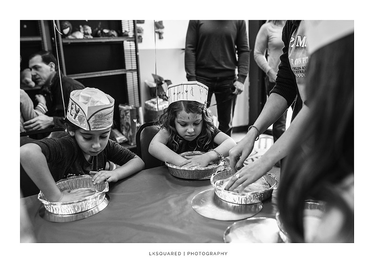 little girl making pizza in valley stream birthday party