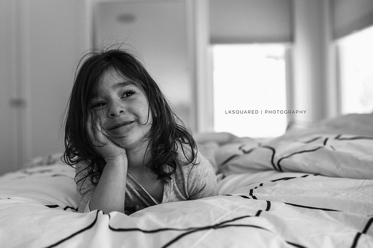 relaxed portrait of a little girl at home
