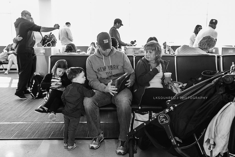 waiting for vacation at the airport
