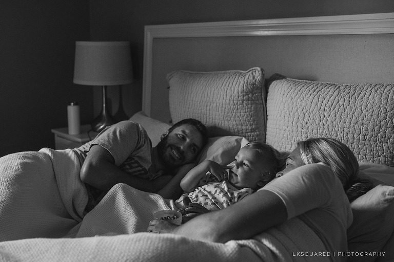 quiet time in bed with mommy and daddy in long beach, ny