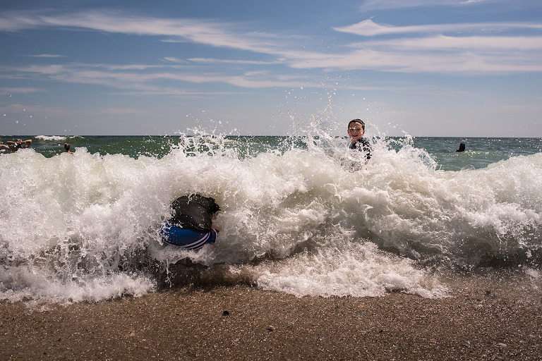 Kids In The Surf At Robert Moses Beach